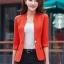เสื้อสูทแฟชั่น เสื้อสูทสำหรับผู้หญิง พร้อมส่ง สีส้ม คอวี แต่งเว้าช่วงคอเสื้อ ผ้าคอตตอน 100 % เนื้อดี คุณภาพงานพรีเมี่ยม งานตัดเย็บเนี๊ยบ thumbnail 8