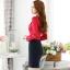 เสื้อเชิ้ตทำงาน เสื้อแฟชั่น สีแดง คอจีนแต่งระบายช่วงคอเสื้อน่ารัก แขนยาว เนื้อผ้ามันเงา ลื่นๆใส่สบาย thumbnail 3