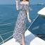 MAXI DRESS ชุดเดรสยาว พร้อมส่ง สีกรม ลายตัดสีขาวเก๋ สวยดูไฮโซมากๆค่ะ thumbnail 6