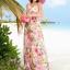 ชุดเดรสยาว MAXIDRESS พร้อมส่ง เกาะอก ลายดอกไม้สีชมพู สวยมาก สม๊อคหลัง thumbnail 4