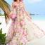 ชุดเดรสยาว MAXIDRESS พร้อมส่ง เกาะอก ลายดอกไม้สีชมพู สวยมาก สม๊อคหลัง thumbnail 1