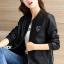 เสื้อแจ็คเก็ต เสื้อหนังแฟชั่น พร้อมส่ง สีดำ คอจีน หนัง PU เย็บทับด้วยผ้ามุ้งด้านนอกเก๋ งานเหมือนแบบ 100 % ค่ะ thumbnail 4