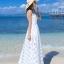ชุดเดรสยาว MAXIDRESS พร้อมส่ง สีขาว ผ้าชีฟอง แต่งลายตารางด้วยผ้าแก้วน่ารัก ใส่ไปเที่ยวทะเล งานปาร์ตี้ชายทะเลเก๋ๆ thumbnail 7
