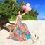 maxi dress ชุดเดรสยาว พร้อมส่ง สีโทนสดใส คอวีลึก สายเดี่ยว ลายดอกไม้สีโทนส้ม thumbnail 3