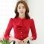 เสื้อเชิ้ตทำงาน เสื้อแฟชั่น สีแดง คอจีนแต่งระบายช่วงคอเสื้อน่ารัก แขนยาว เนื้อผ้ามันเงา ลื่นๆใส่สบาย thumbnail 1