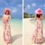 ชุดเดรสยาว MAXIDRESS พร้อมส่ง เกาะอก ลายดอกไม้สีชมพู สวยมาก สม๊อคหลัง thumbnail 6