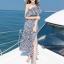 MAXI DRESS ชุดเดรสยาว พร้อมส่ง สีกรม ลายตัดสีขาวเก๋ สวยดูไฮโซมากๆค่ะ thumbnail 7