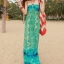 ชุดเดรสยาว maxi dress พร้อมส่ง โทนเขียว-ฟ้า สายคล้องคอ แต่งลวดลายสุดเก๋ๆทั้งชุด เนื้อผ้ายืดหยุ่นใส่สบาย ซัมเมอร์นี้ไม่ควรพลาดนะคะ thumbnail 1