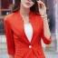 เสื้อสูทแฟชั่น เสื้อสูทสำหรับผู้หญิง พร้อมส่ง สีส้ม คอวี แต่งเว้าช่วงคอเสื้อ ผ้าคอตตอน 100 % เนื้อดี คุณภาพงานพรีเมี่ยม งานตัดเย็บเนี๊ยบ thumbnail 2