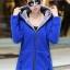 เสื้อกันหนาว พร้อมส่ง สีน้ำเงิน ซิบหน้า มีฮูทสุดเท่ห์ ฮูทบุด้วยขนสัตว์สังเคราะห์นิ่มๆ thumbnail 1