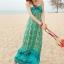 ชุดเดรสยาว maxi dress พร้อมส่ง โทนเขียว-ฟ้า สายคล้องคอ แต่งลวดลายสุดเก๋ๆทั้งชุด เนื้อผ้ายืดหยุ่นใส่สบาย ซัมเมอร์นี้ไม่ควรพลาดนะคะ thumbnail 3
