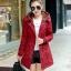 เสื้อโค้ท เสื้อกันหนาว พร้อมส่ง สีแดง แขนยาวจั๊มปลายแขน แต่งตัดด้วยสีน้ำตาลสีสวย thumbnail 1