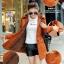 เสื้อโค้ท เสื้อกันหนาว พร้อมส่ง สีส้ม แขนยาวจั๊มปลายแขน แต่งตัดด้วยสีน้ำตาลสีสวย thumbnail 3