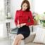 เสื้อเชิ้ตทำงาน เสื้อแฟชั่น สีแดง คอจีนแต่งระบายช่วงคอเสื้อน่ารัก แขนยาว เนื้อผ้ามันเงา ลื่นๆใส่สบาย thumbnail 5