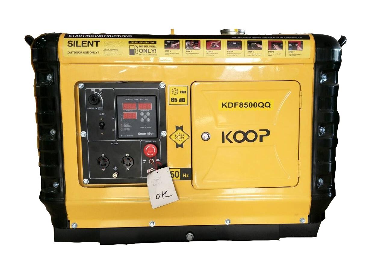 เครื่องกำเนิดไฟฟ้า เครื่องยนต์ดีเซลขนาด 5 5 KVA KOOP